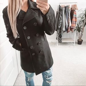 J. Crew Wool Double Breasted Pea Coat Black